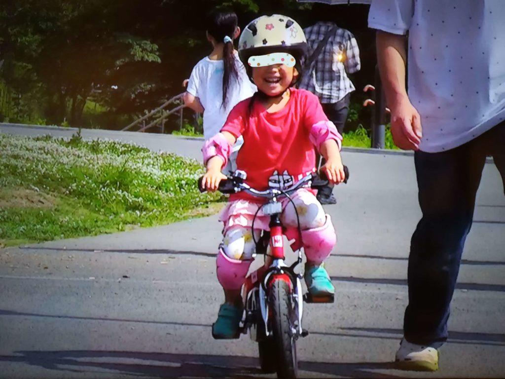 娘がへんしんバイクに乗れた様子