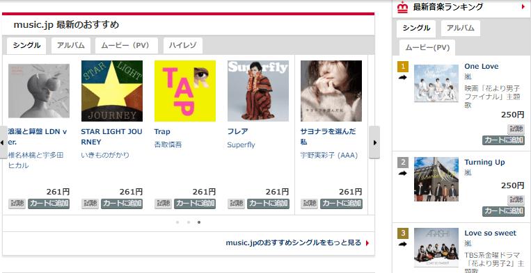 music.jpの取り扱い音楽例の画像