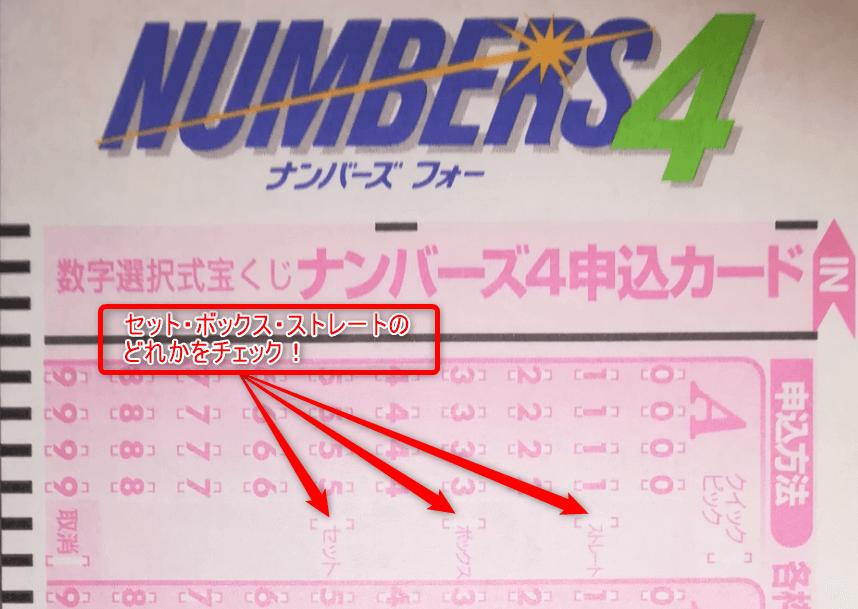 ナンバーズ4の申し込みカードの選択肢の画像